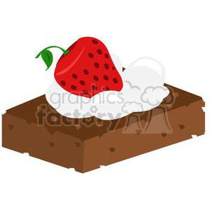 300x300 Royalty Free Brownie With Whip Cream And Strawberry 381032 Vector