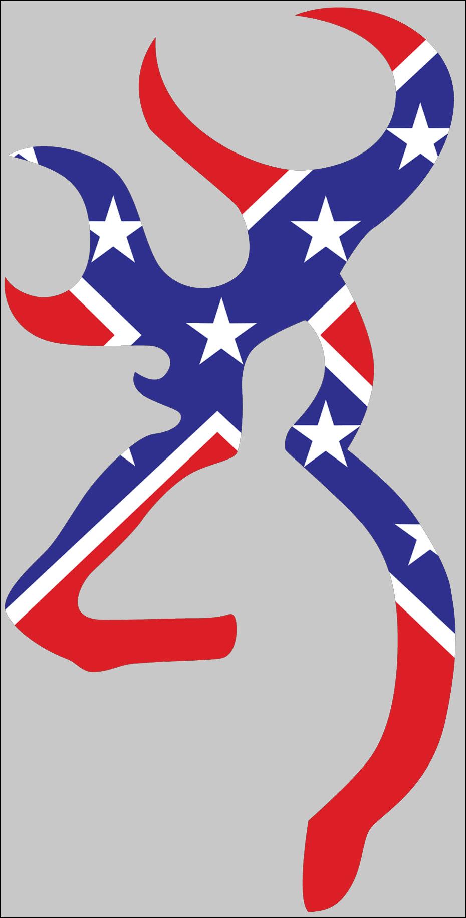 930x1830 Browning Deer Head Logo Rebel Flag Sticker American Method