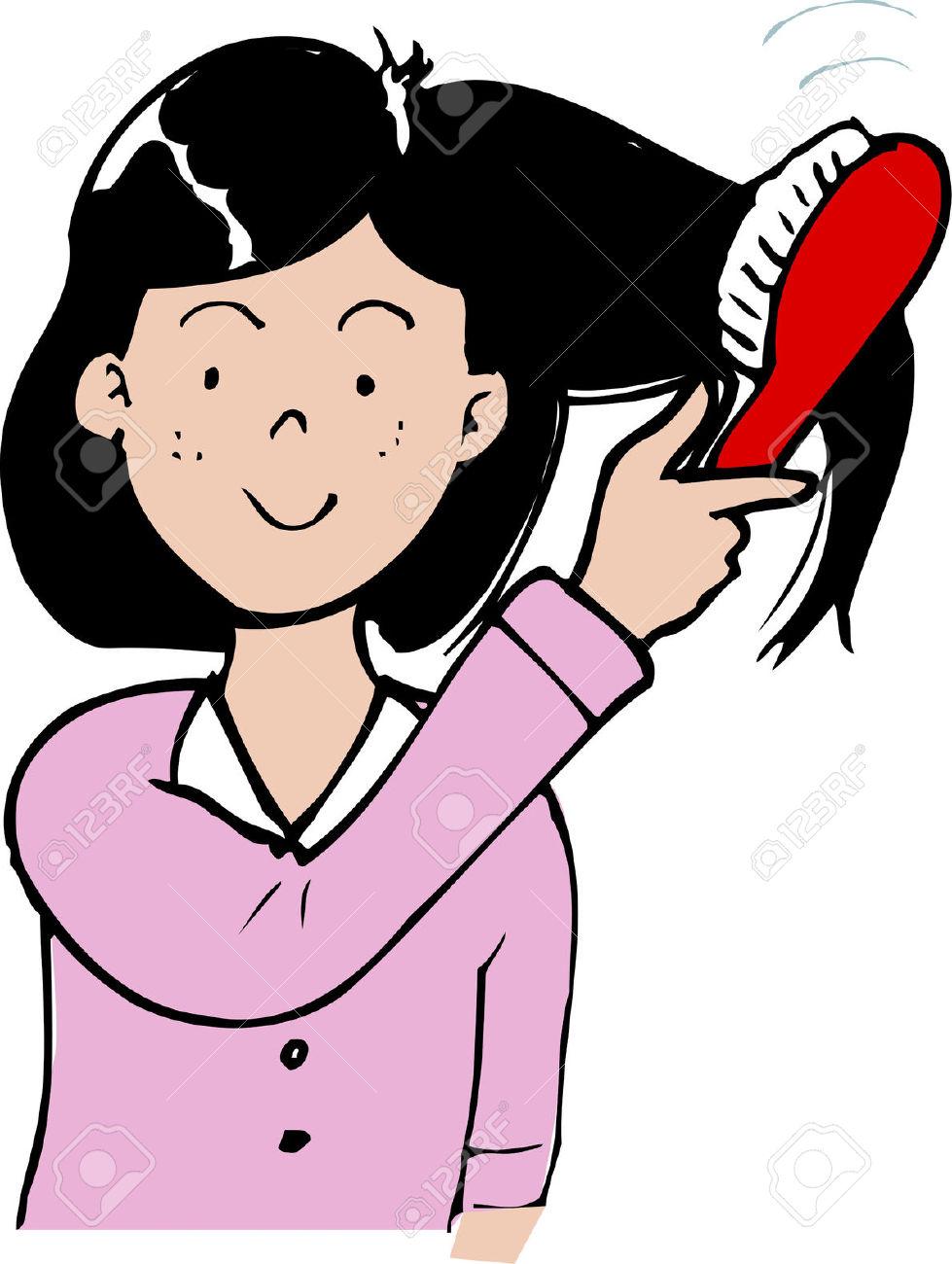 979x1300 I Brush My Hair Clipart