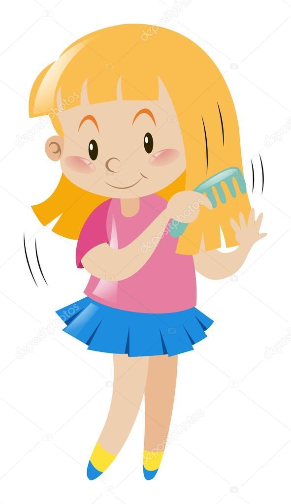 591x1024 Little Girl Combing Her Hair Stock Vector Brgfx