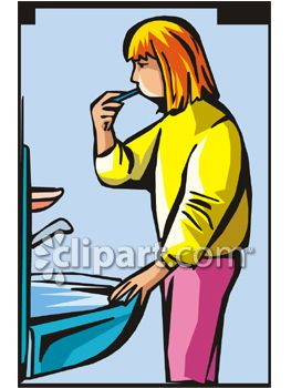 263x350 Clipart Picture Of A Girl Brushing Her Teeth