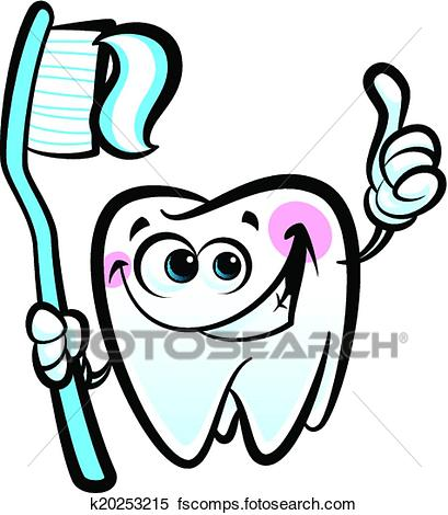 409x470 Clipart Of Healthy Cute Cartoon Tooth Character Making A Thumb Up
