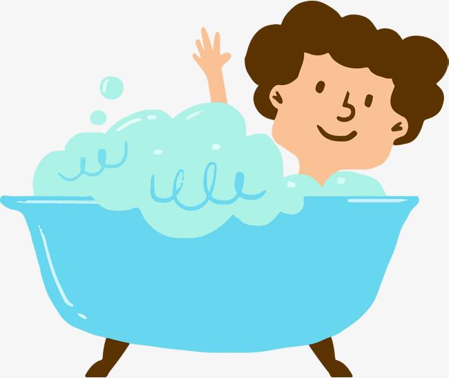 650x547 Cute Cartoon Bubble Bath Vector, Cartoon, Hand Painted, Bath
