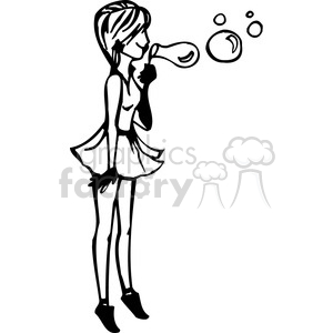 300x300 Royalty Free Girl Blowing Bubbles 384743 Vector Clip Art Image