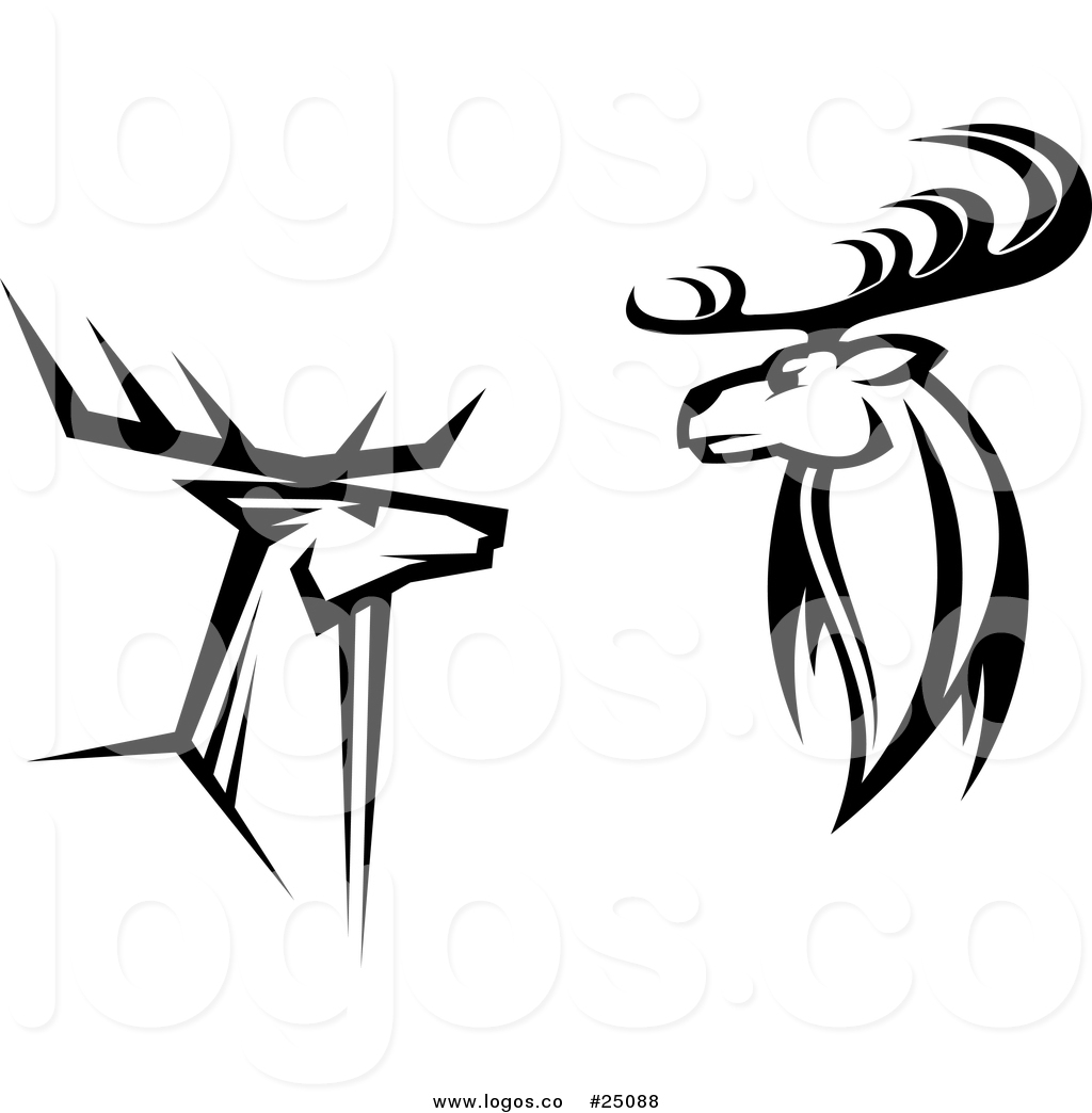 1024x1044 Royalty Free Vector Logos Of Black And White Buck Deer By Vector