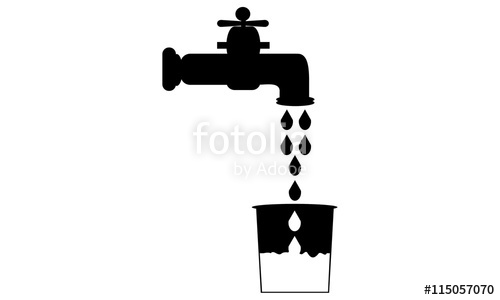 500x300 Icon Water Tap And Bucket. Logo Simple Flat Bucket Filled With T