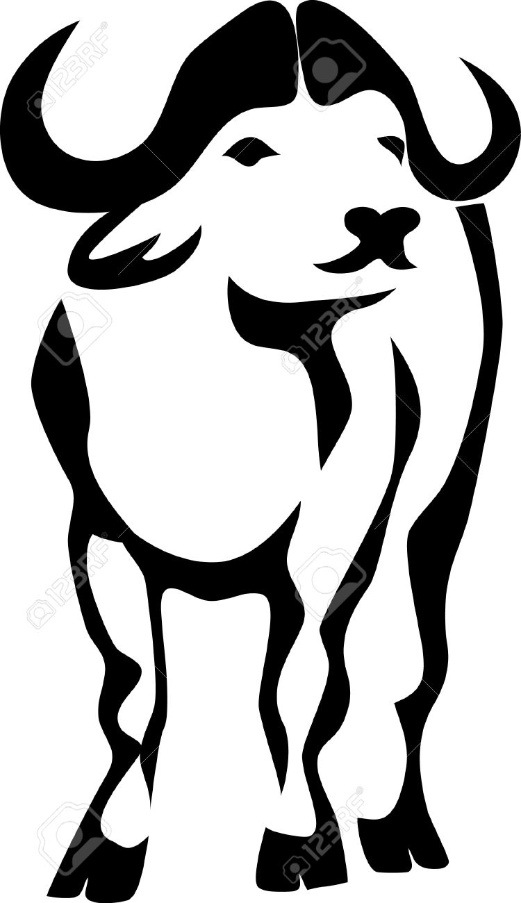 750x1300 African Buffalo Clipart Black And White