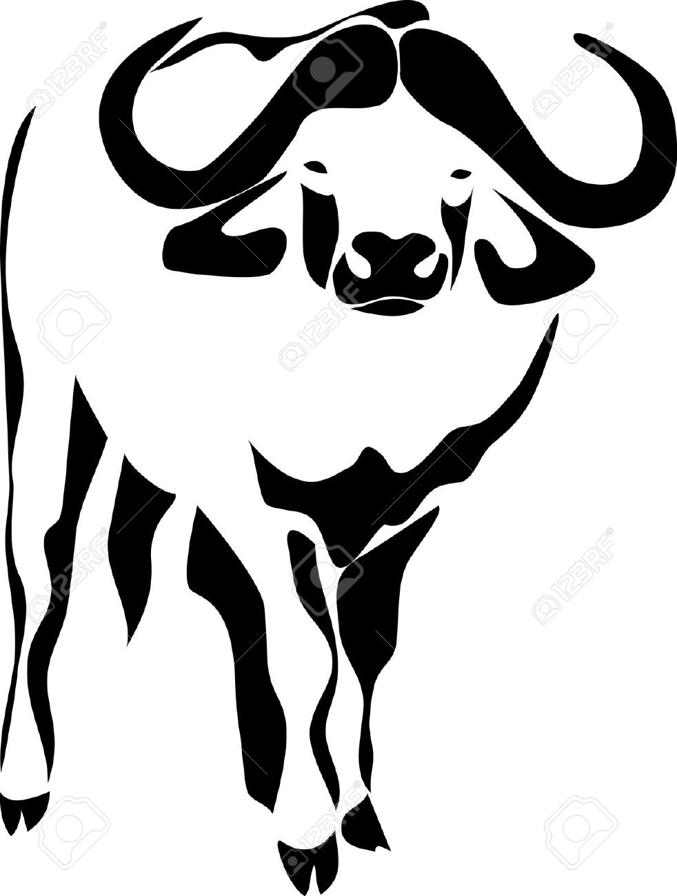 982x1300 Water Buffalo Clipart Black And White