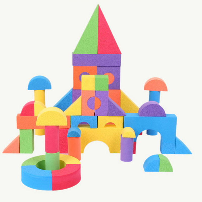 800x800 50 Pcs Bright Color Eva Foam Building Blocks Creative Safe Soft