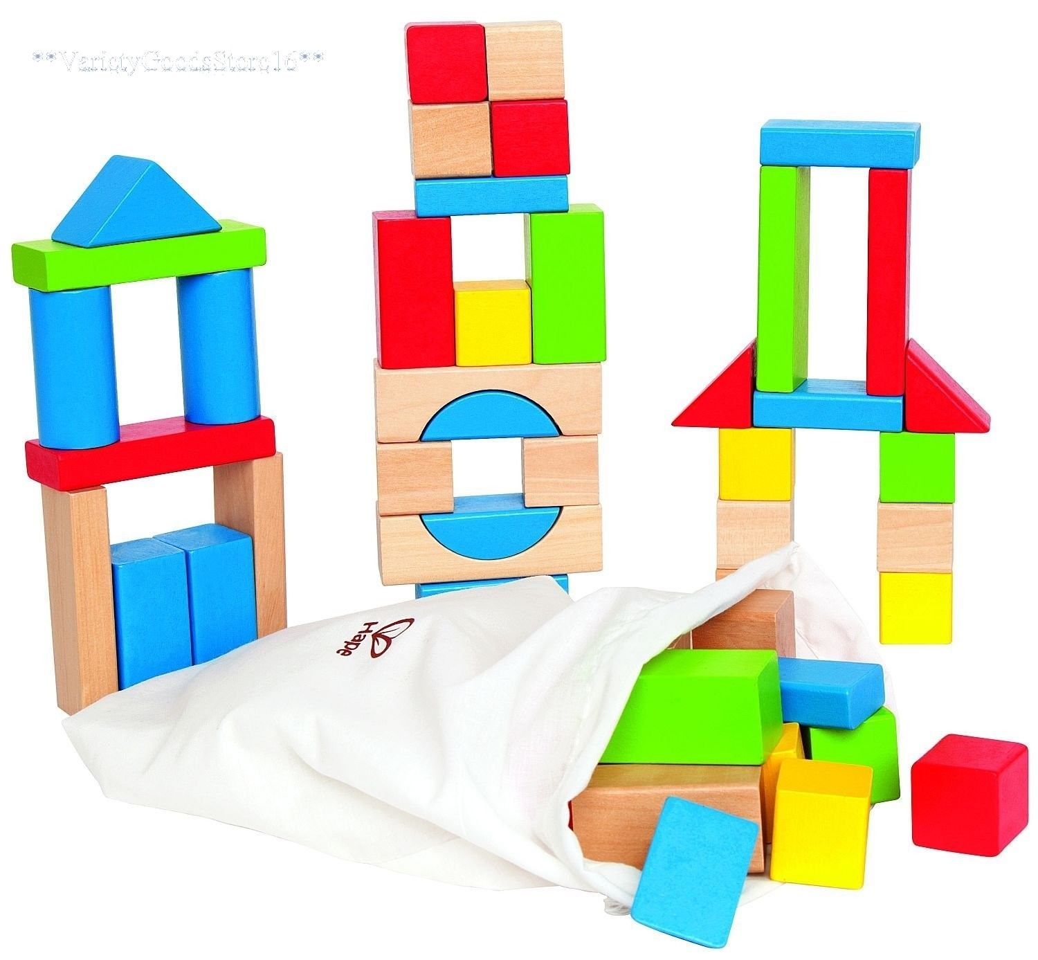 1500x1387 Wooden Building Blocks 50 Pc Baby Toddler Kids First Wood Block