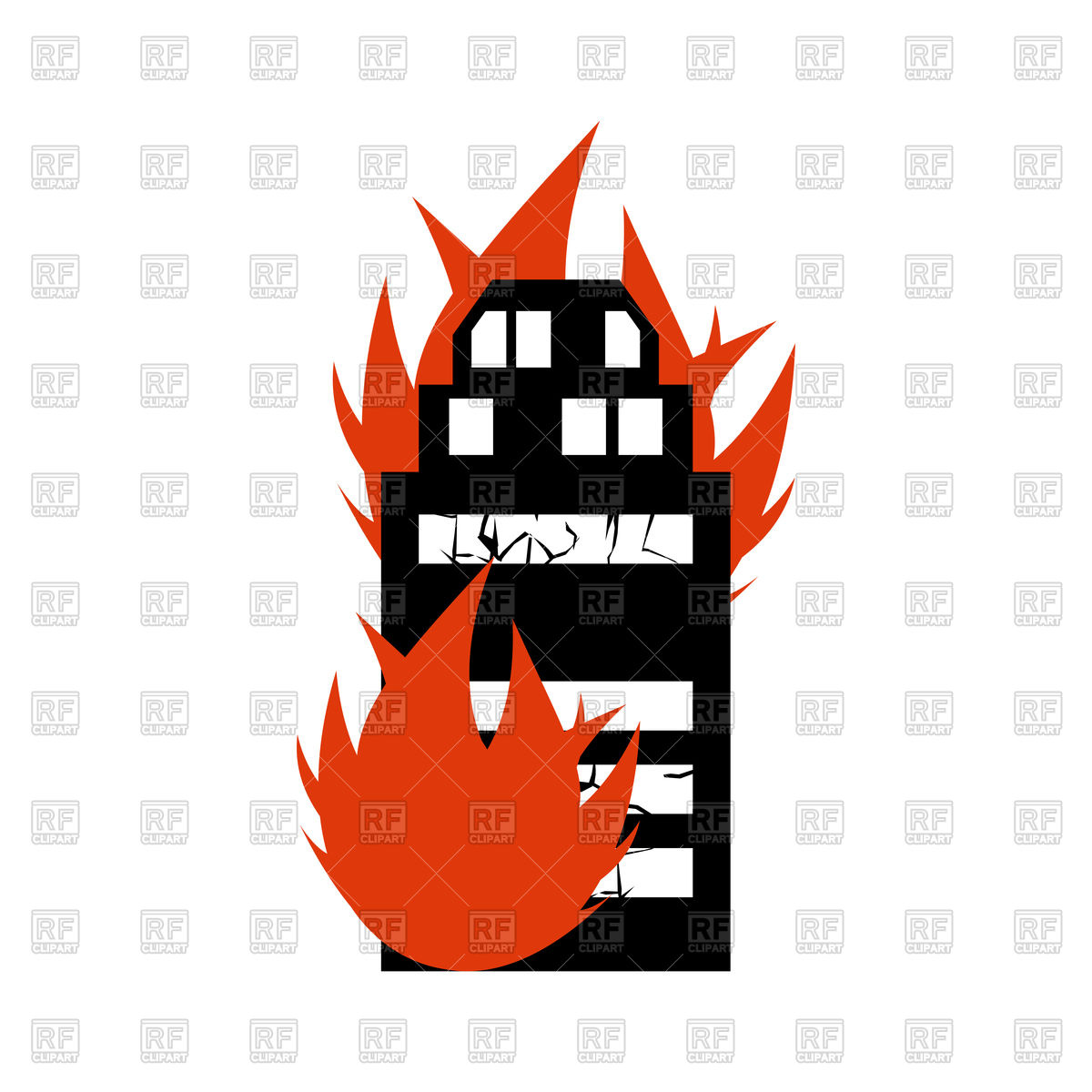 1200x1200 Burn Building Royalty Free Vector Clip Art Image
