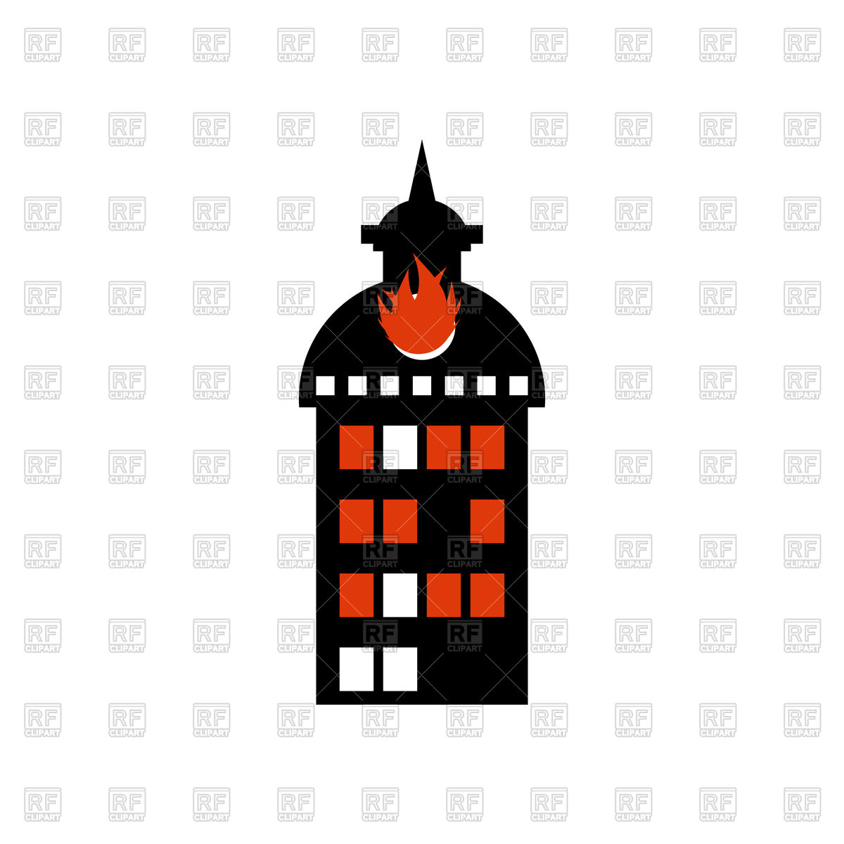 1200x1200 Burning Building. Fire In Facility. Arson. Royalty Free Vector