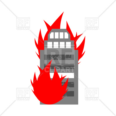 400x400 Fire In Building Icon Royalty Free Vector Clip Art Image