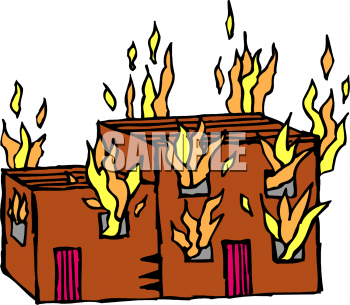350x305 Building On Fire Clipart