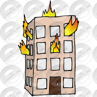 380x380 Building On Fire Picture For Classroom Therapy Use