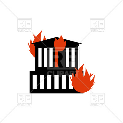 400x400 Burn Building, Fire In House Royalty Free Vector Clip Art Image