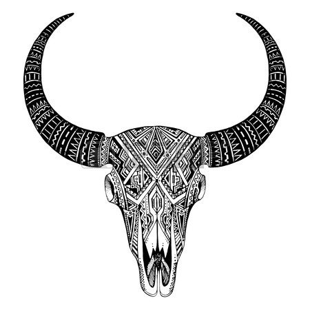 450x450 Decorative Indian Bull Skull With Ethnic Ornament, Feathers