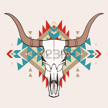 450x450 Western Bull Or Steer Skull Illustration Royalty Free Cliparts