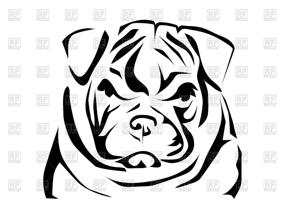 1200x849 English Bulldog's Head Royalty Free Vector Clip Art Image