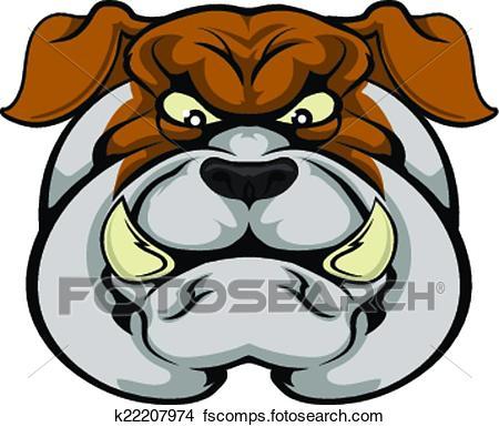450x385 Clipart Of Bulldog Mascot Face K22207974