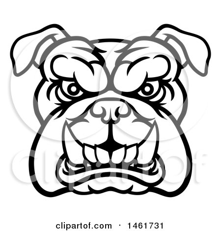 450x470 Clipart Of A Black And White Snarling Bulldog Face