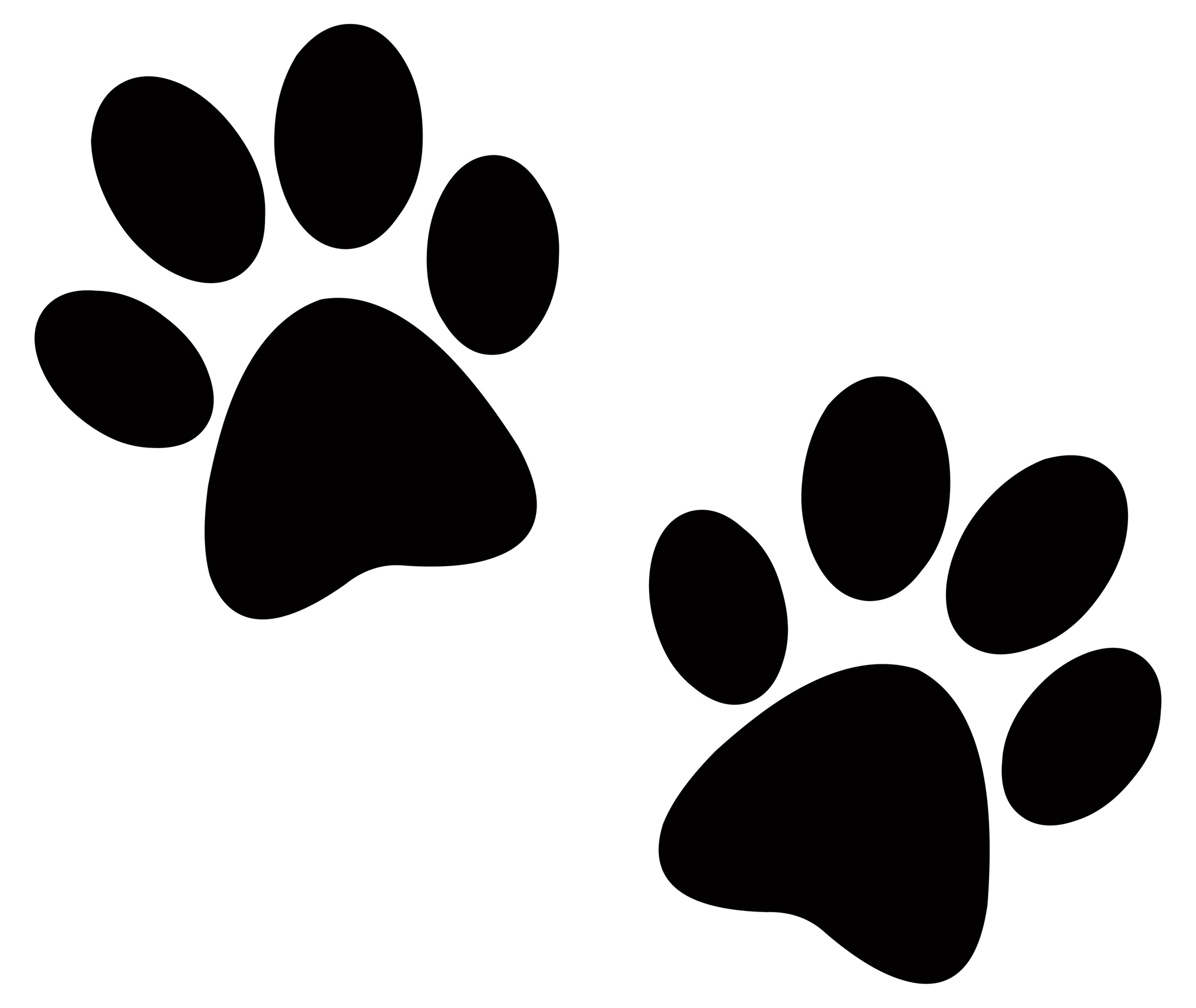 2095x1766 Paw Print Clip Art Black And White