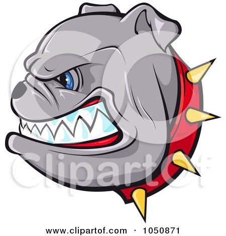 450x470 Clip Art Picture Of A Tough Bulldogs Head With A Red Nose, Purple