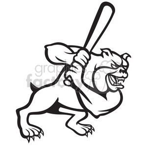 300x300 Royalty Free Baseball Bulldog Player Batting Black White 389994