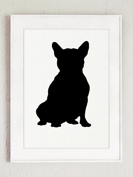 425x567 Set Of 9 French Bulldog Silhouettes Home Decor. Black Dog