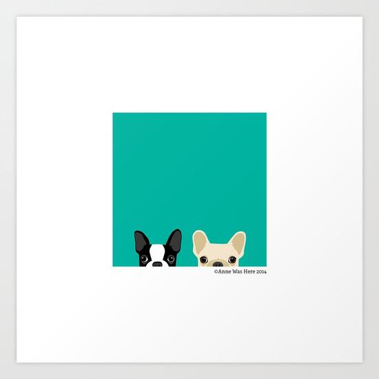 550x550 Boston Terrier Amp French Bulldog 2 Art Print By Annewashere Society6