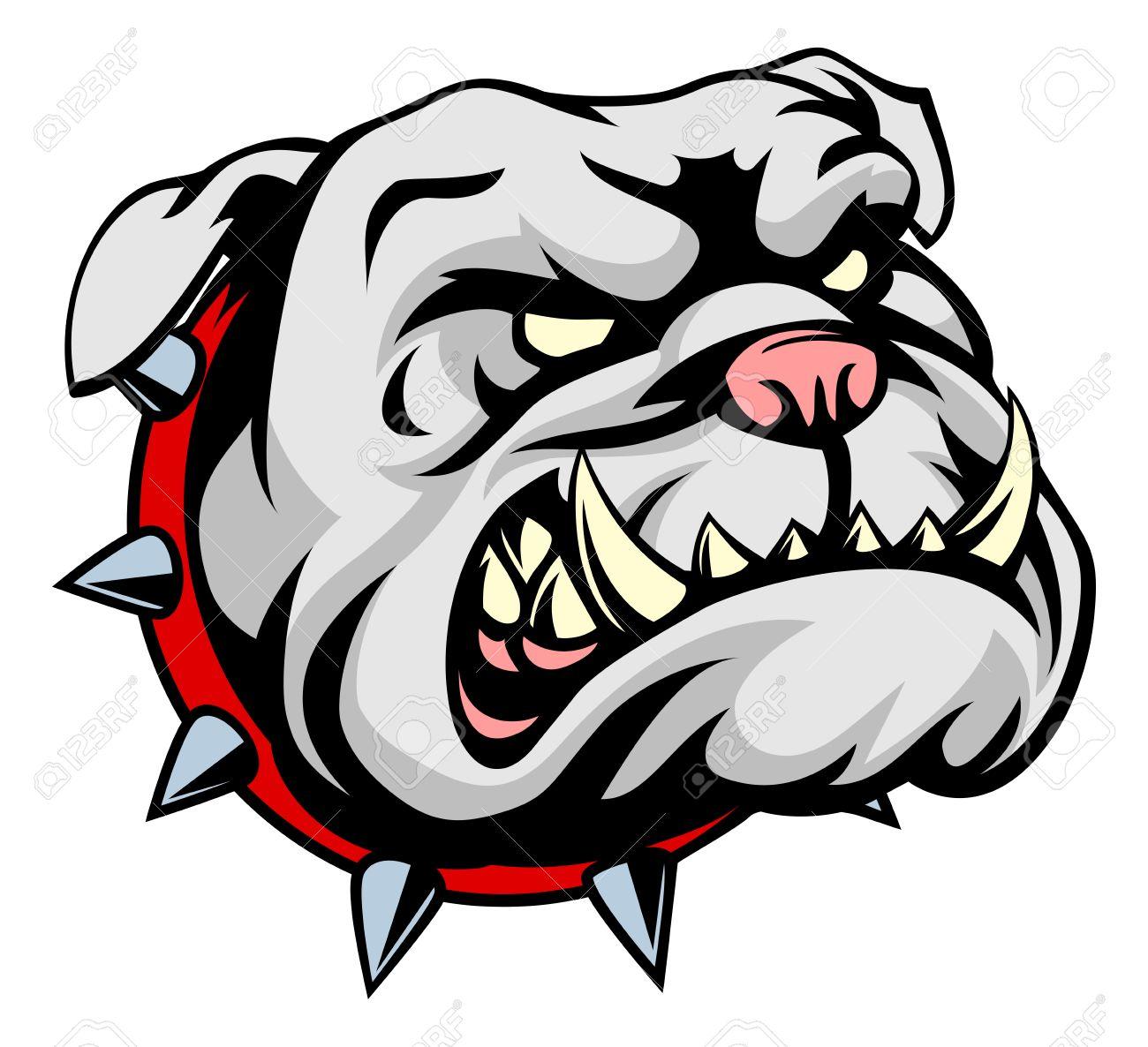 1300x1186 A Mean Looking Cartoon Pet Bulldog Dog Wearing A Spiked Collar