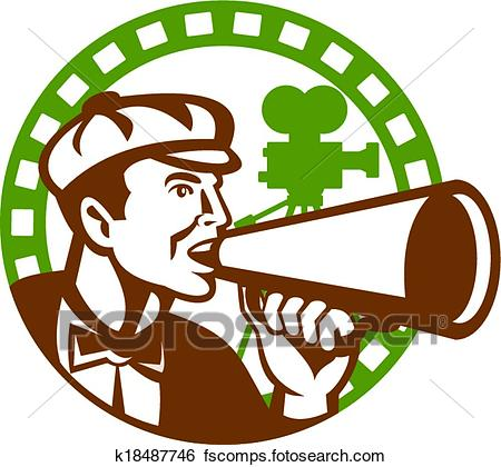 450x420 Clip Art Of Movie Director Bullhorn Vintage Movie Camera Retro