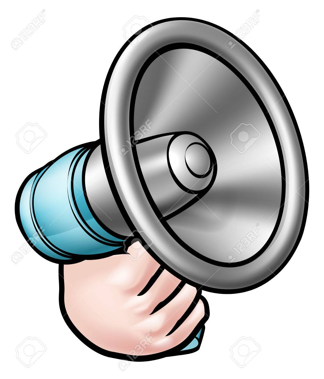1112x1300 A Cartoon Hand Holding A Megaphone Or Bullhorn Royalty Free