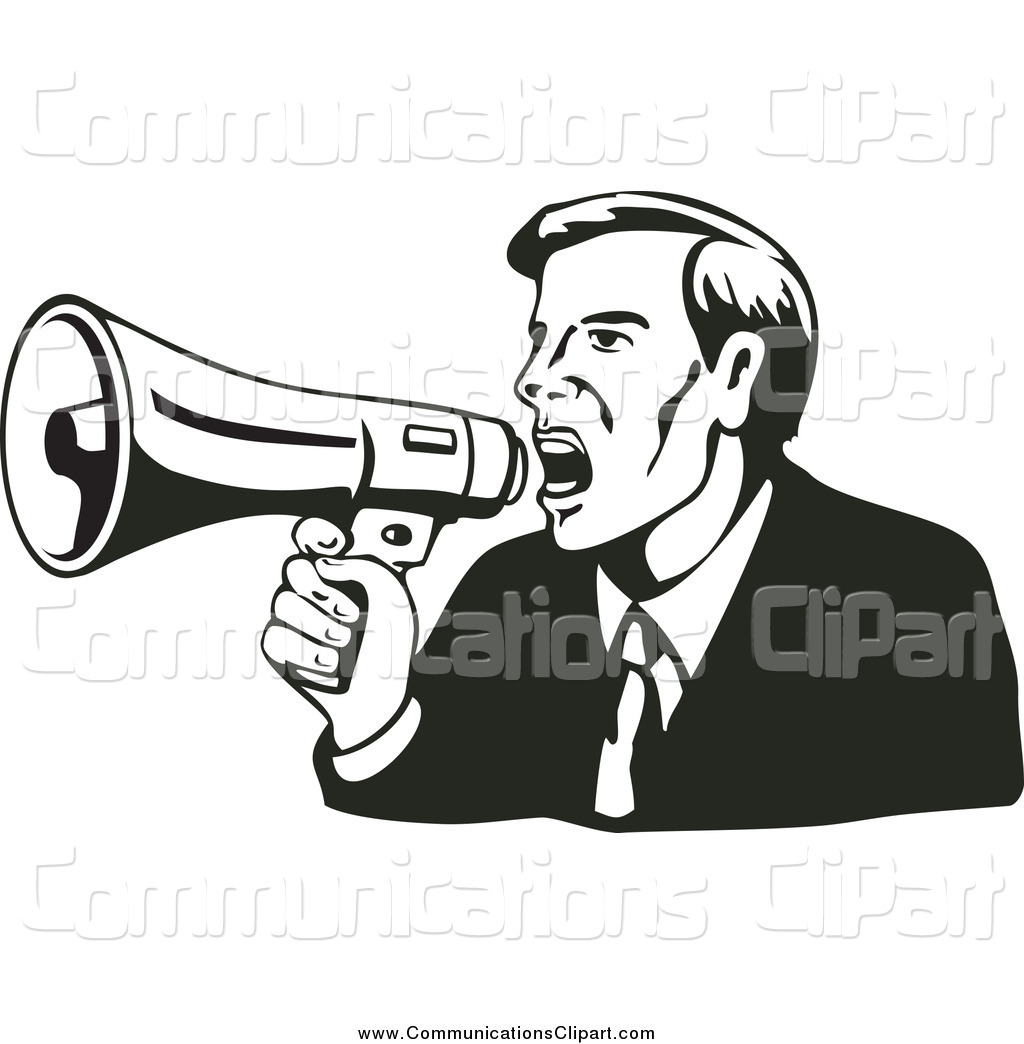 1024x1044 Communication Clipart Of A Retro Black And Businessman Shouting