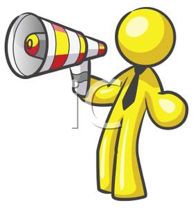 279x300 Yellow Man Speaking Into A Bullhorn Clip Art Image