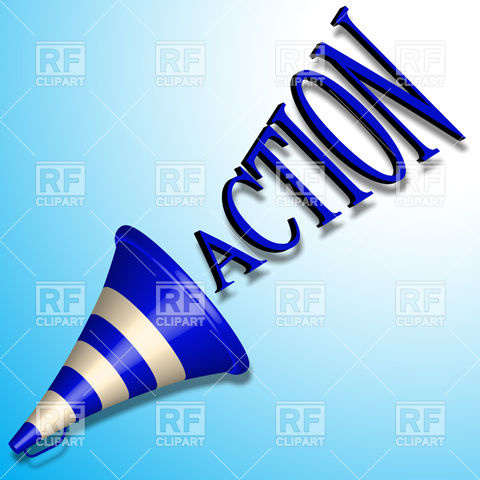 480x480 Blue Bullhorn Icon And Action Command Royalty Free Vector Clip Art