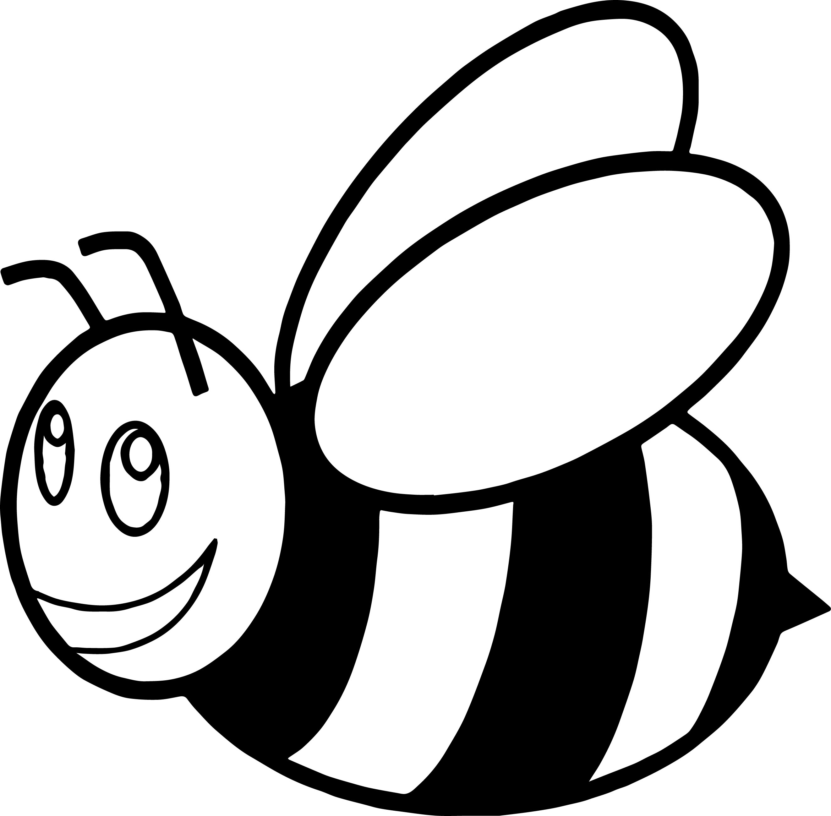 2645x2598 Cute Cartoon Bumble Bee Rubber Coaster Coloring Page Wecoloringpage