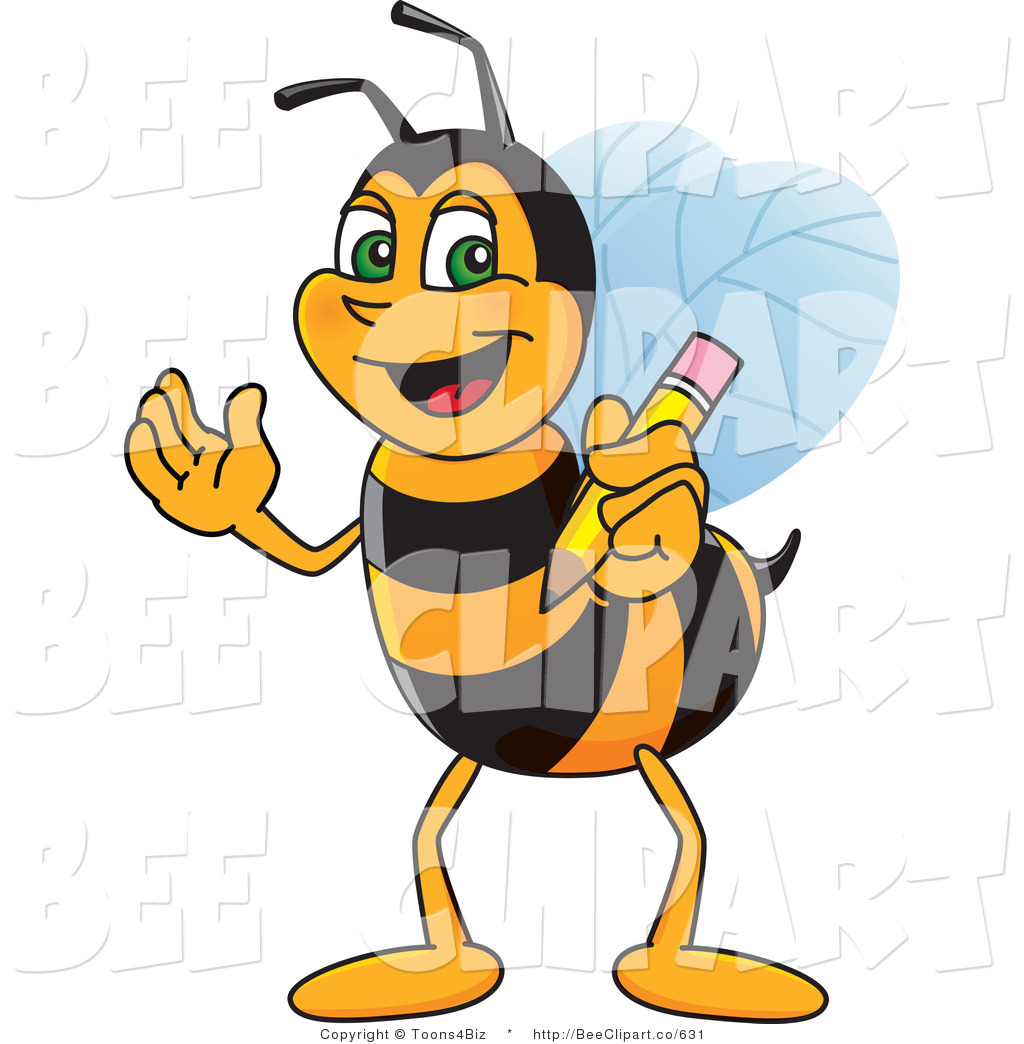 1024x1044 Clip Art Of A Worker Bumble Bee Character Mascot Holding A Pencil