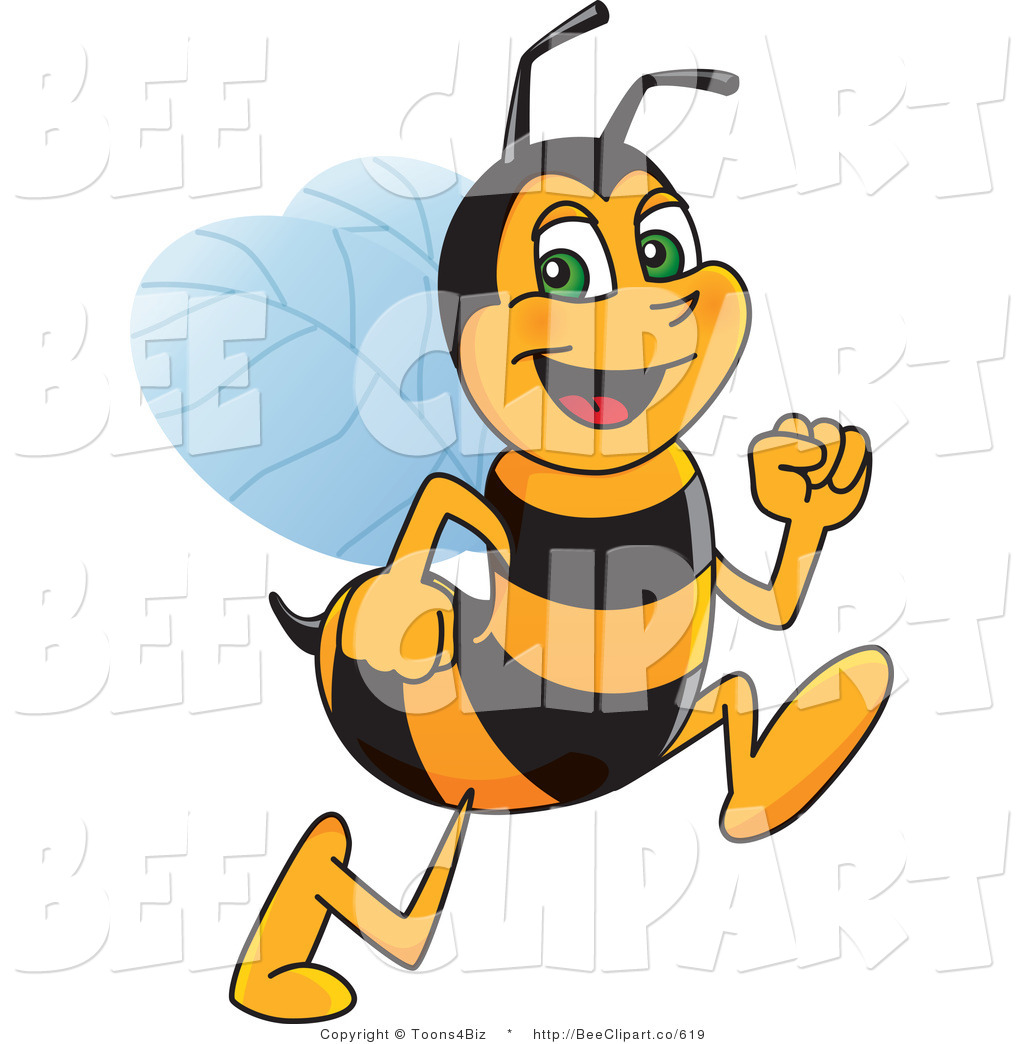 1024x1044 Clip Art Of A Worker Bumble Bee Character Mascot Running By