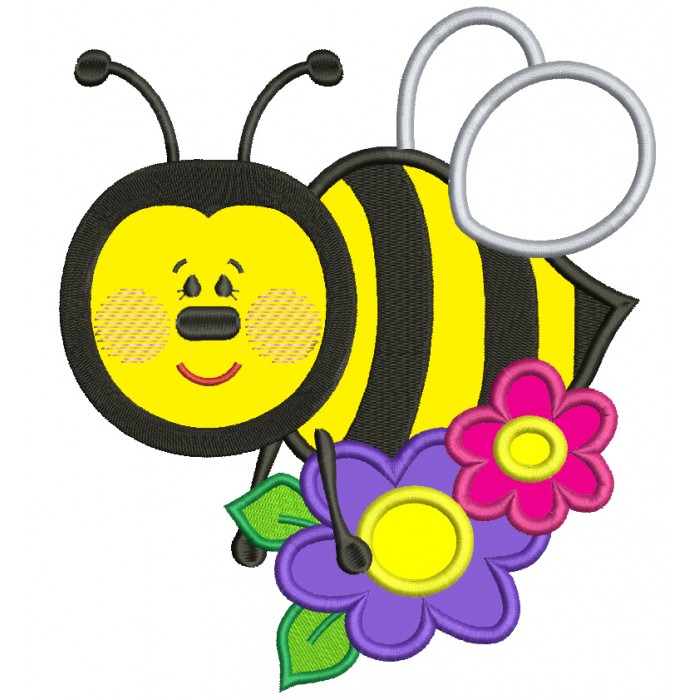 700x700 Bumble Bee With A Flower Applique Machine Embroidery Design