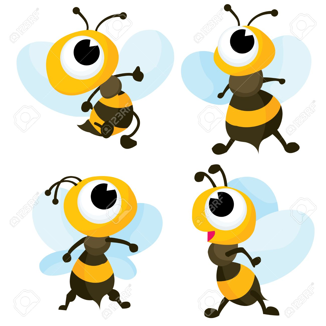 1300x1300 A Cartoon Vector Illustration Set Of Four Cute Bumble Bee. Royalty