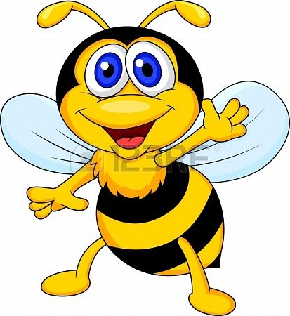 413x450 Cute Bee Cartoon Waving Stock Photo