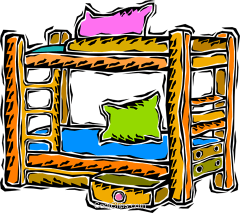 480x426 Bunk Beds Royalty Free Vector Clip Art Illustration Vc008693
