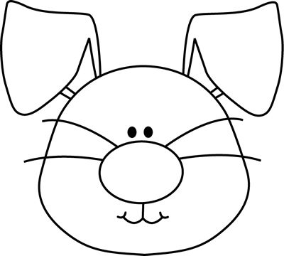 400x360 Rabbit Face Clipart Black And White
