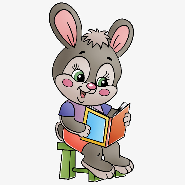 600x600 Cartoon Bunny Hand Painted Rabbit Reading And Sitting, Cartoon