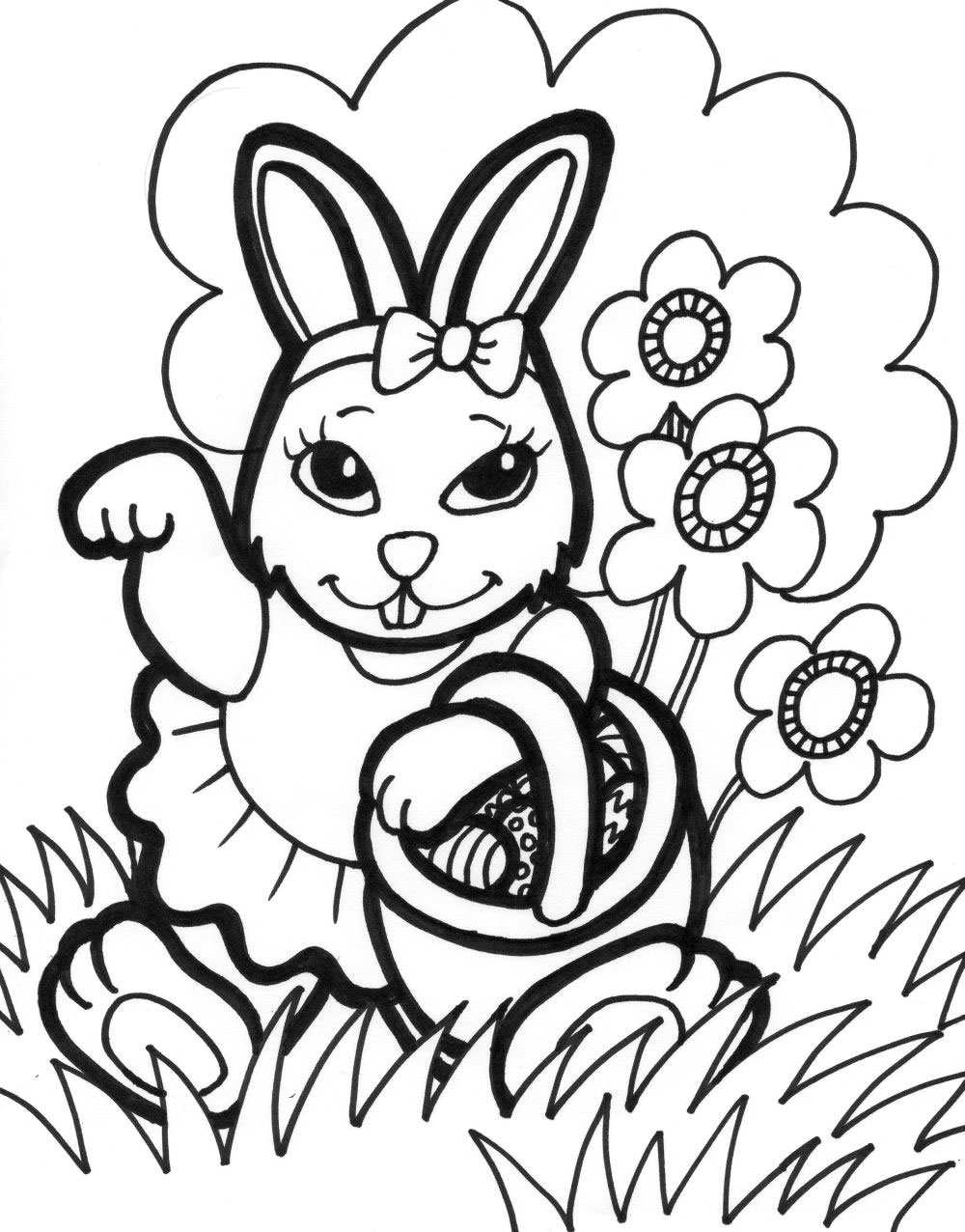 1000x1276 New Easter Bunny Coloring Page 26 On Seasonal Colouring Pages