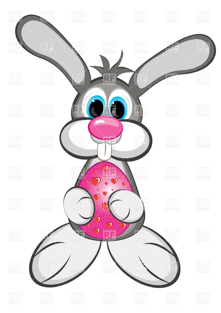 848x1200 Easter Bunny Boy With Colored Egg Royalty Free Vector Clip Art