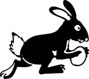 298x264 Bunny Running With Egg Clip Art