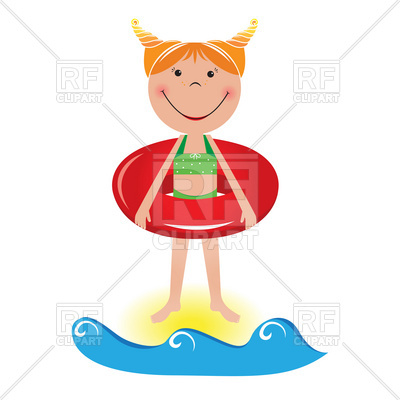 400x400 Happy Little Girl With Life Buoy On The Beach Royalty Free Vector