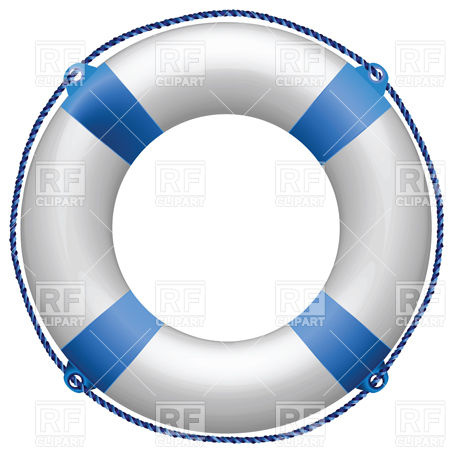 453x453 Blue Life Buoy With Rope Royalty Free Vector Clip Art Image